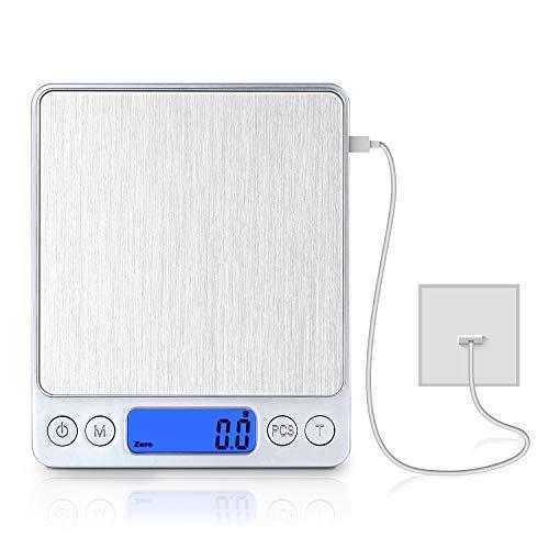 Bilancia Cucina Digitale con Carica USB,Bilance per Alimentari Elettronica ad Alta Precisione 3kg-0.1g,Multifunzione Peso Cucina con,mini bilancia per alimenti,bilancia digitale impermeabile …