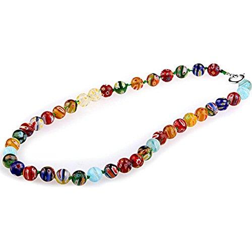 skyllc® 10mm Runde Lampwork Glasperlen Halskette, mehrere Verschiedene Muster, mehrfarbige Blumen, wunderschöne Accessoires für stilvolle Frauen