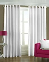 Exporthub 2 Piece Eyelet Polyester Door Curtain Set - 7ft, White