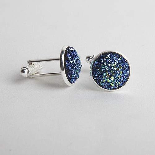 Elegante Semplice lusso Colore Drusy pietra gemelli for gli uomini Donna rotonda strass Cuff collega novità del regalo di Hotsale Camicia accessori Aggiungi colore al Outfit ( Metal color : Blue )
