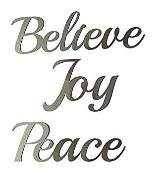 Crafter's Square Greenbrier Metal Holiday Christmas Wall Hanging Artwork Decor Plaques 3 Cursive Words 9 in  Peace Joy Believe