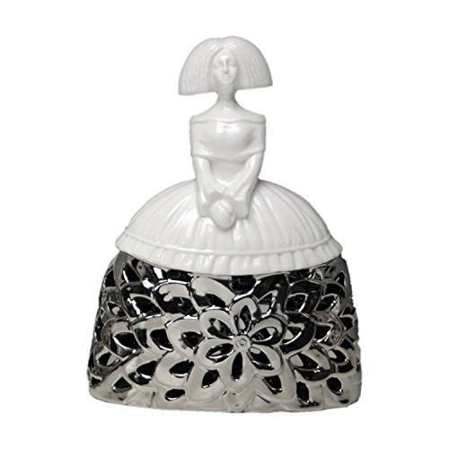 DONREGALOWEB Figura menina de cerámica en Colores Blanco y Plateado (23X18X8 CM)