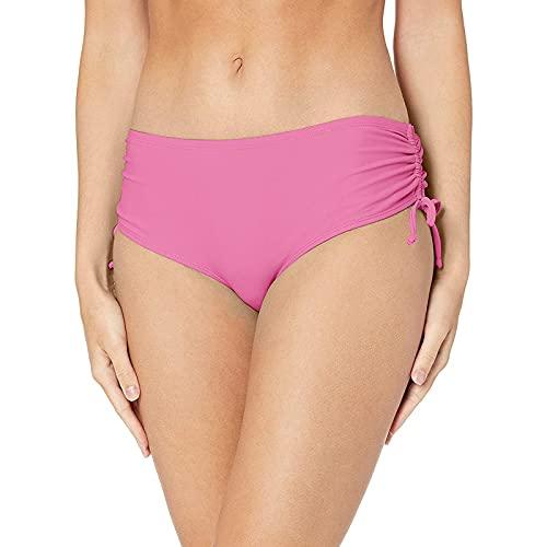 BIBOKAOKE Bikini para mujer con fruncido y cordones, cintura alta, pantalones cortos clásicos, pantalones cortos de baño, traje de baño de cintura alta, Rosa10., S