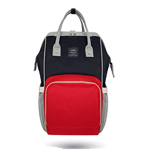 New LAND Nappy Diaper Bag Drop shipping Large Capacity Baby Bag Travel Backpack Desiger Nursing Bag for Baby Care Hooks Change pad