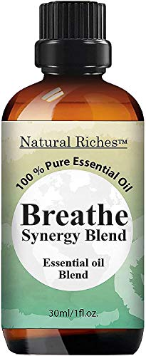 Natural Riches Breathe Essential Oil Blend - Peppermint Eucalyptus Tea Tree Lemon Cardamom Pine Needle Essential Oils, Helps Relief Congestion Symptoms - 30 ml
