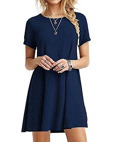YOINS Sommerkleid Damen Tunika Tshirt Kleid Bluse Kurzarm MiniKleid Boho Maxikleid Rundhals ,Dunkelblau,UK 10-12, CN M