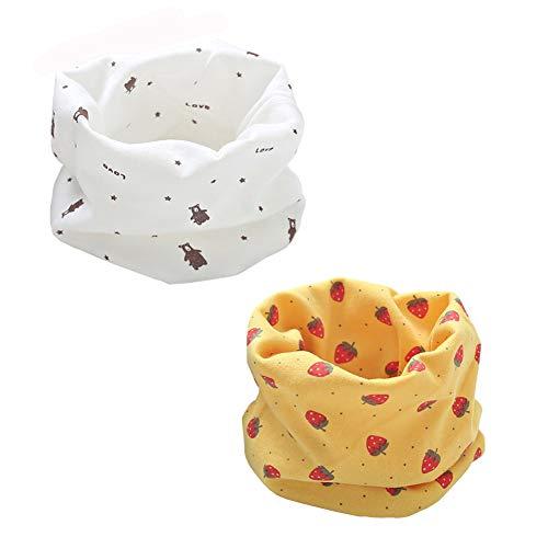 ENSTAB 2 Stück Loop Kinder Baumwolle Herbst Winter Schal Baby Loop Hals Wärmer Mädchen und Junge (Mädchen C-2)