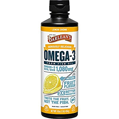 Barlean's Seriously Delicious Omega-3 Fish Oil Lemon Creme, 16 Ounce (2 Pack)