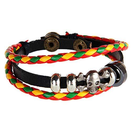 Thumby Unisex Polsband Armbanden Sieraden Armband Mode Heren en Dames Schedel Lederen Touw Armband Olivine