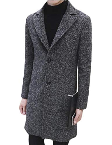 Mens Trench Coat Single Breasted 2 Buttons Long Jacket Overcoat (8811 Grey,M)