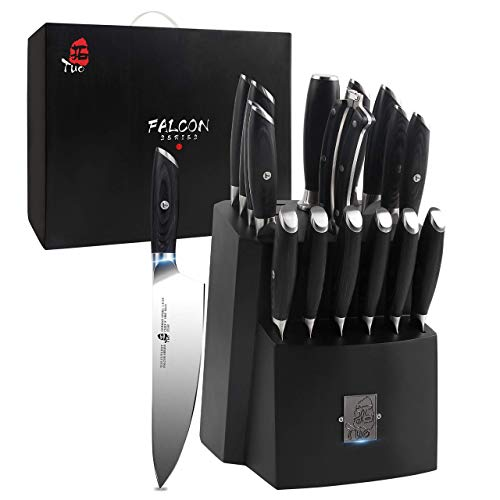 TUO Knife Block Set - 17 PCS Kitchen Knife Set with Wooden Block, Kitchen Knife Set Honing Steel and Shears - German X50CrMoV15 Steel with Full Tang Pakkawood Handle - FALCON SERIES with Gift Box