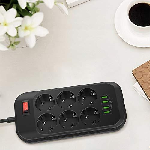 CVBN Cargador de teléfono con 4 USB Múltiples Tomas de Corriente 6 Cargador de regleta de enchufes de Salida de la UE, Negro, UE