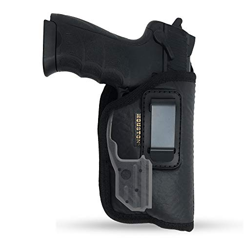 IWB Gun Holster by Houston - ECO Leather Concealed Carry Soft Material | FITS Most Full Sizes, Like XDM, Glock 17/19/21, 92 FS (with Laser) (Right) (CHP-57BL-RH)