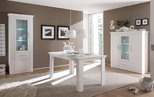 Dreams4Home Eetkamerset 'Ruma' - Set, vitrine, highboard, eettafel, zonder stoelen, eetkamer, keuken, woonkamer, opslagruimte, LED-verlichting, modern, in pijnboomwit, houtimitatie, verlichting: met verlichting