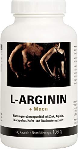 Vihado L-Arginin Kapseln – hochdosiertes L-Arginin mit Maca, OPC und Zink – 1200 mg / Tagesdosis Arginin + Pflanzenstoffe – ideale Nahrungsergänzung zum Training – 140 Kapseln