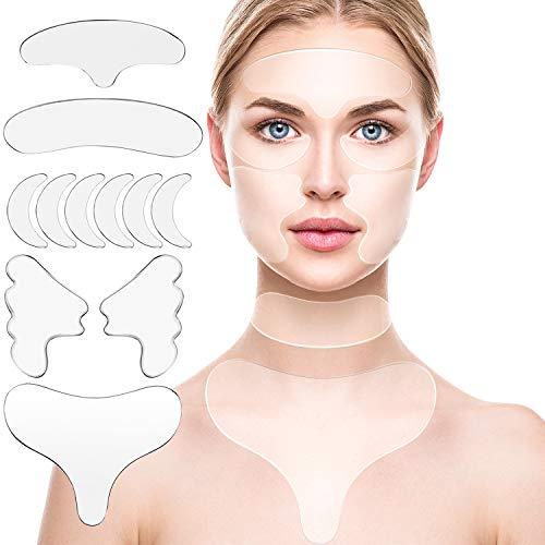 10 Stücke Silikon Brustpolster, Dekolleté Brustpolster Set Inklusive Wiederverwendbarem Silikon Brustpolstere Wangenstift und Stirnpolster