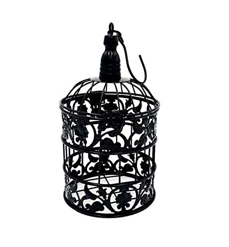 PET SHOW 7' Cute Small Mini Round Birdcages Metal Wall Hanging Bird Cage Wedding Gift Card Holder Party Decoration Black Pack of 1