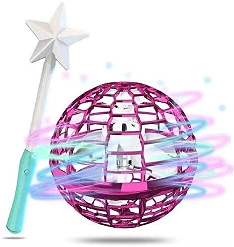 XiuLi Hand Operated Drones for Kids or Adults - Mini Drone Flying Toy, UFO Toy, 360 Degree Rotation Flying Ball Drone Toys for Boys Girls (Color : Pink, Size : A)