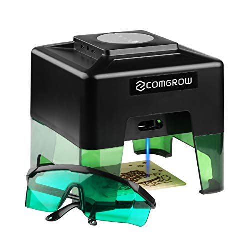 Comgrow Laser Engraver, Mini Handheld Laser Etcher Printer Cutter Home Desktop Laser Engraving Etching Machine with Protective Goggles for DIY Logo Design, Art Craft Science, Wood Paper Leather Black