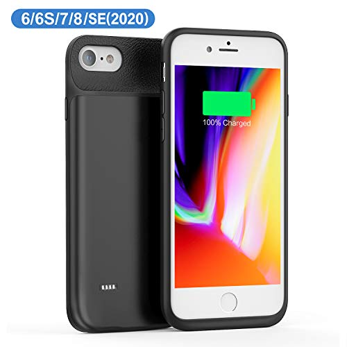 JCK Funda Batería para iPhone SE 2020 / 8 / 7 / 6 / 6s, 6600mAh Funda Cargador Portatil Ultra Capacidad Carcasa Batería Recargable Batería Externa para iPhone 7 /8/6/6s/ SE 2020, 4.7 Pulgadas, Negro