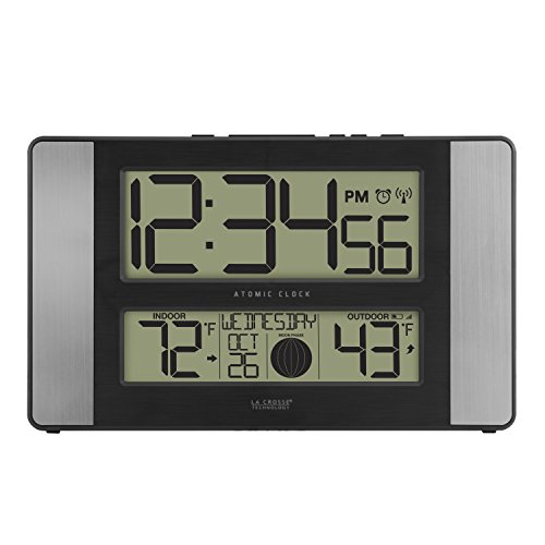 La Crosse Technology 513-1417AL-INT Atomic Clock w Outdoor Temp, Grey/Black