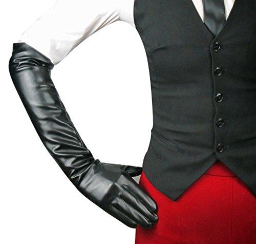 Edith qi Women's Long Evening Dress Faux Leather Elbow Length Party Gloves,Medium,Black