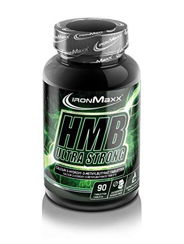 IronMaxx HMB Ultra Strong – hochdosiert mit 1600g HMB-Ca pro Tablette – Aminosäuren für Sportler, Athleten und Bodybuilder – Profi-Produkt der IronMaxx Ultra-Strong Serie – 1 x 90 Kapseln