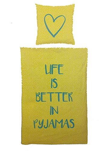 VS Home Trend Bettwäsche Life is Better in Pyjamas Bezug 135x200cm Kissen 80x80cm 100% Baumwolle mit Reißverschluss Renforcé