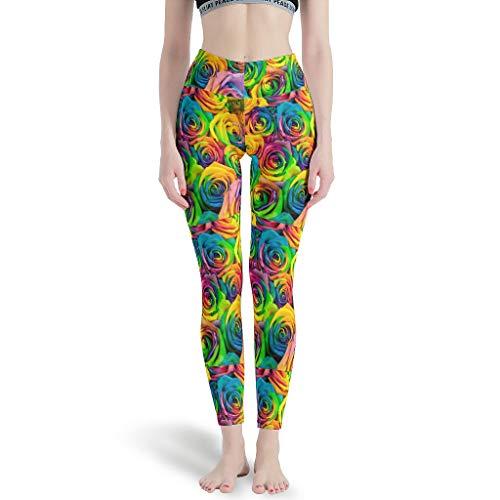 Dogedou High Elastic Yoga Hosen Damen Colorful Roses Fitness Hosen für Fitness White m