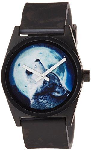 Neff NF0208-HOWL Schwarze Band-blaue Vorwahlknopf-tägliche wilde analoge Uhr der Männer