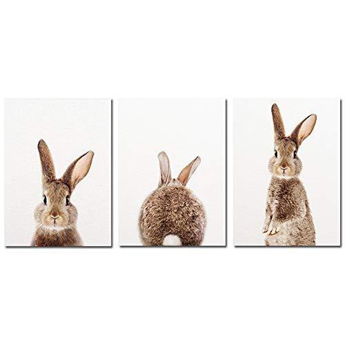 CAPOOK Leinwandmalerei Niedliche Tiere Kinderzimmer Hase Drucke Poster WandkunstDekor Wandbilder für Wohnkultur 3 Stück-20x30 cm / 7,8