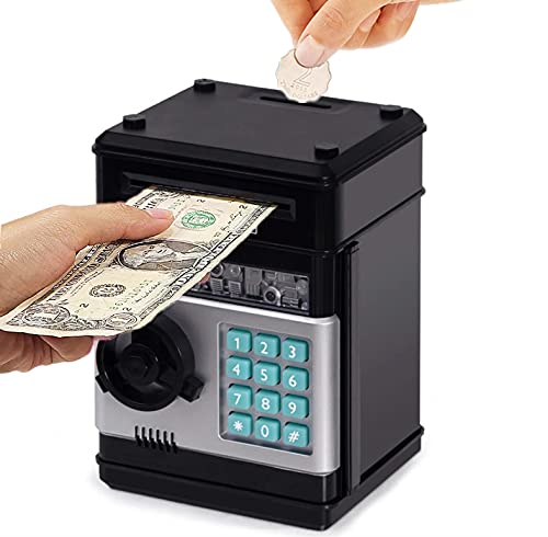 Piggy Bank for Boys Girls, Electronic Coin Money Bank with Password Protection, ATM Saving Bank Paper Money Scroll Saving Box