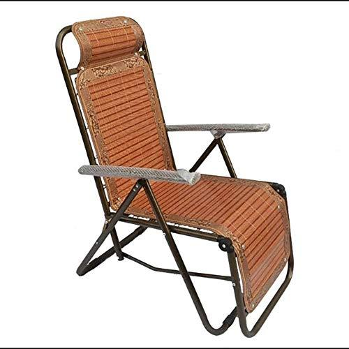 Chaise Balancelle Loisirs avec Coussins de Jardin Fauteuil inclinable Longues en Bambou Tapis Pliant Pont d'extérieur Jardin Siesta Longue Canne Pliable Cool