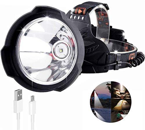 LED super brillante proyector, al aire libre USB recargable 35000 lúmenes del faro del Jefe del sombrero duro de la lámpara principal Uso de Casco Potente 18650 para la Pesca Senderismo Paseo