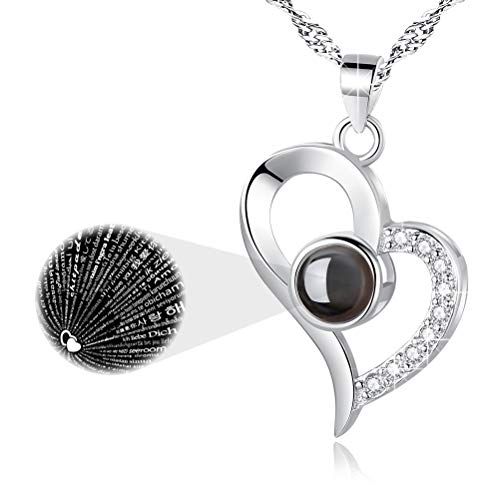 EleShow Mothers Day Gifts 925 Sterling Silver I Love You Necklace 100...