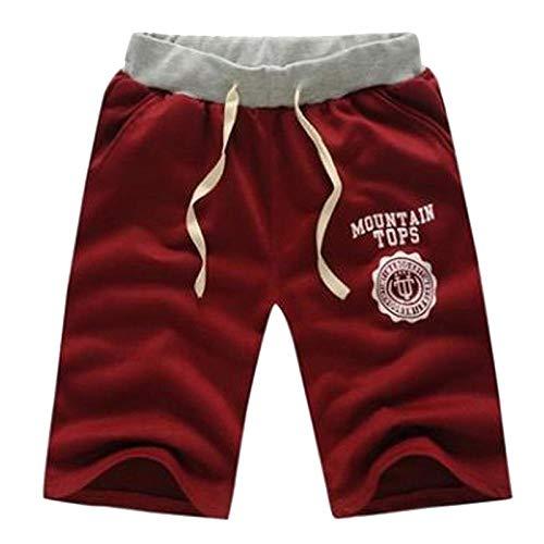 Hommes Shorts Moitié D'Été Plage Imprimé Coton Respirant Mode Casual en Plein Air Hommes Pantalones Doux Shorts XL Rouge