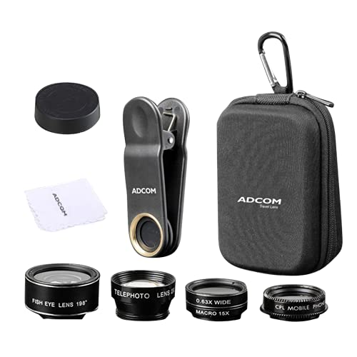 Adcom 5 in 1 Mobile Phone Camera Lens Kit – Compatible with All iOS & Android Devices (Black)