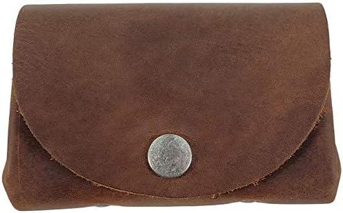 Tuzech Leather Vintage Money Case Bag Snap On Pouch Wallet Change Holder & Card Organizer Accessories, Handmade