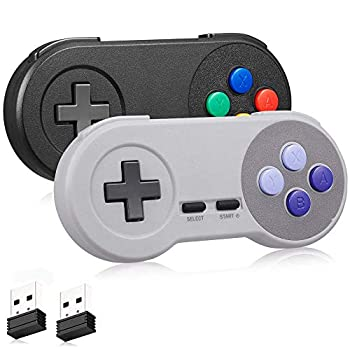 Wireless SNES USB Controller 2 Pack kiwitatá 2.4ghz SNES PC Classic USB Wireless Game Pad Controller for PC MAC Linux Raspberry Pi