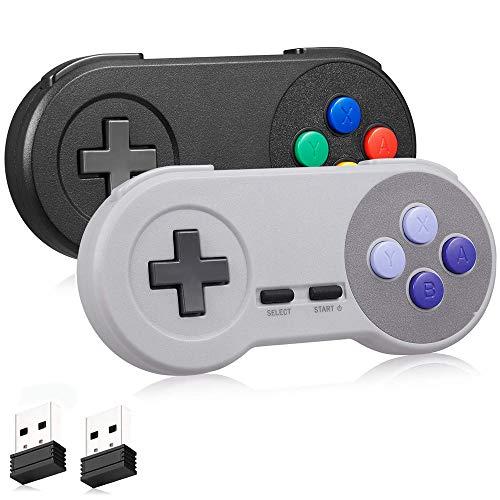 Wireless SNES USB Controller 2 Pack, kiwitatá 2.4ghz SNES PC Classic USB Wireless Game Pad Controller for PC MAC Linux Raspberry Pi