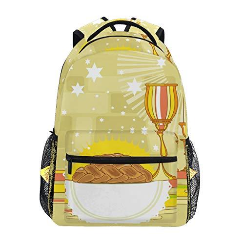 Happy Shabbat Challah Brot Schulranzen Rucksack mit großer Kapazität Canvas Rucksack Tasche Casual Reise Daypack für Kinder Erwachsene Teenager Frauen Männer