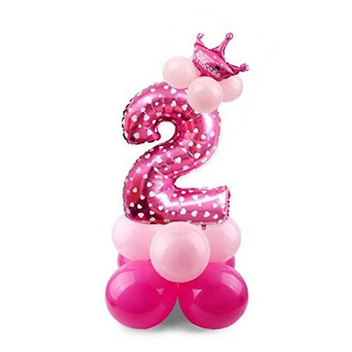 Globo de látex del papel de aluminio del partido Globos Corona Mylar globo de aire Número 2 Globos de fiesta de cumpleaños decoración rosa