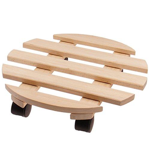 Support porte plantes à roulettes Ø 35 cm en bois de hêtre - Tablette à roulettes pour pots de fleur