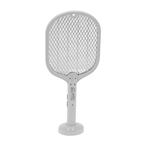 Matador de mosquitos eléctrico, matamoscas de mosquitos eléctrico de mano, interruptor de seguridad doble con base recargable para el hogar y al aire libre