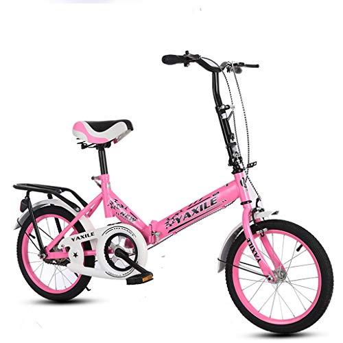 Bxiao Bicicleta Plegable para niños, Bicicleta de Escuela Primaria y Secundaria para Adultos, Ultraligera, portátil de 16 Pulgadas, 20 Pulgadas, Bicicleta Que Absorbe los Golpes de Las niñas