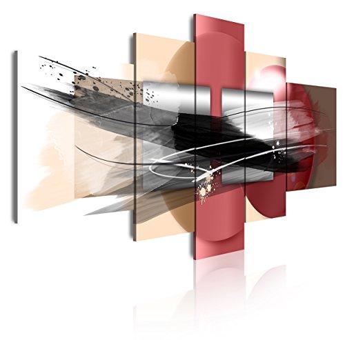 DekoArte 285 - Cuadros Modernos Impresión de Imagen Artística Digitalizada | Lienzo Decorativo Para Tu Salón o Dormitorio | Estilo Abstracto Moderno Colores Plata Negro Rosa | 5 Piezas 180x85cm XXL