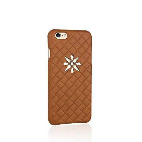Axpasia Cover iPhone 6 (4.7'), Large Intreccio Slim con Logo Oro [Sottile] Made in Italy, per iPhone 6, 6 Plus, 7, 7 Plus, 8, 8 Plus, X, Vera Pelle, Design e manifattura Italiana, Blu