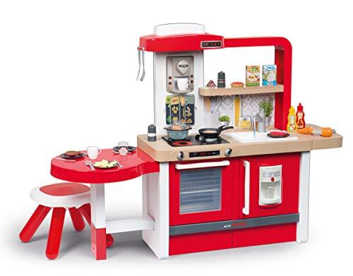 Smoby Tefal Evo Grand Chef XXL-Spielküche für Kinder mit vielen Funktionen, große Sitzecke mit Hocker 43 tgl. Zubehör, für Kinder ab 3 Jahren, rot