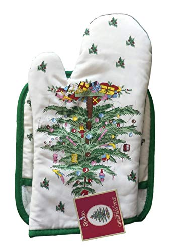 Spode Christmas Tree 2-pc Kitchen Gift Set: Oven Mitt & Square Pot Holder