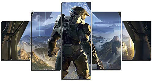 TYHC Master Chief Video Game Art Canvas Posters Home Decor Wall Art 5 Pieces Paintings for Living Room HD Prints Pictures (M,Unframed)